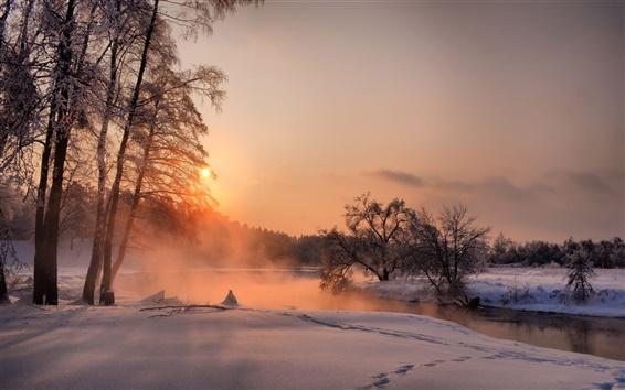 Обои Вечер, деревья, закат, зима, река