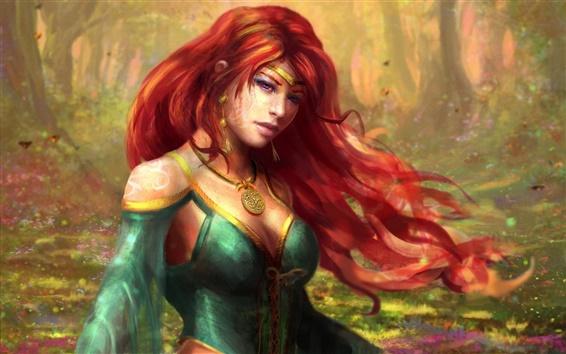 Обои Фэнтези девушка, красные волосы, лес