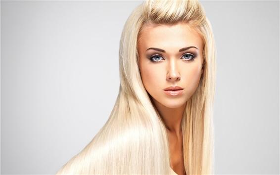 Fond d'écran Mode fille blonde, cheveux longs, maquillage