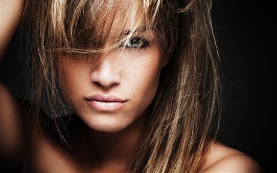 Fond d'écran Fashion girl, visage, yeux, cheveux