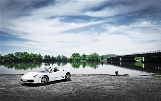 Wallpaper Ferrari F430 white car, river, bridge