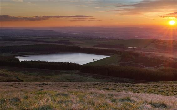 Fond d'écran Les champs, forêt, lac, coucher de soleil