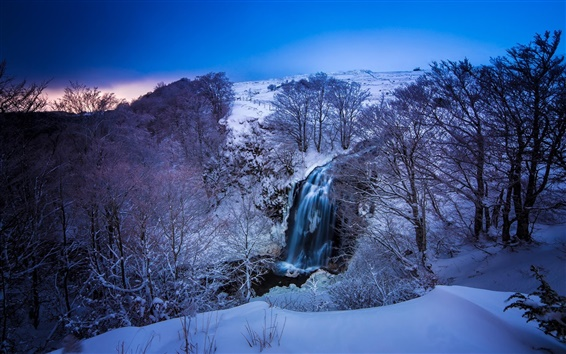 Wallpaper France, winter, snow, mountains, river, waterfall, trees, blue, dusk
