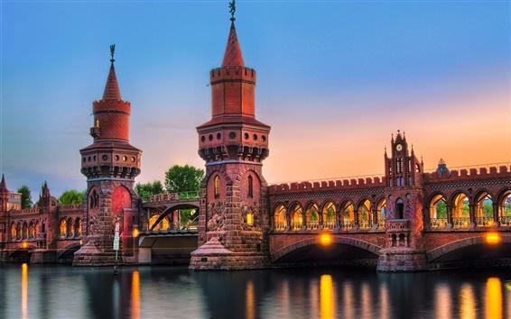 Wallpaper Germany, Berlin, city, bridge, river, lights, night