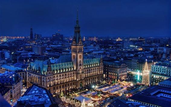 Papéis de Parede Alemanha, Hamburgo, noite, skyline, cidade, casa, luzes