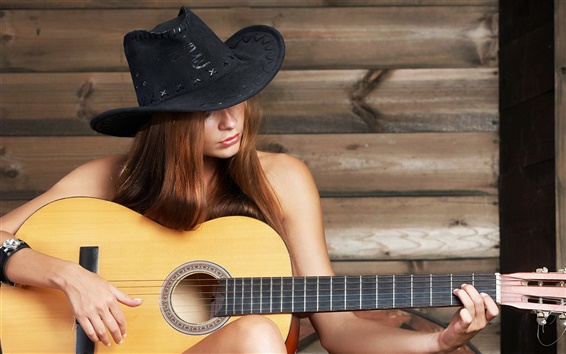 Wallpaper Girl play guitar, music, hat