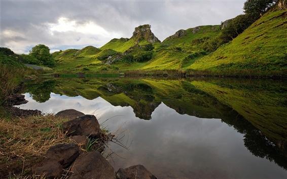 Wallpaper Hills, lake, water reflection, clouds