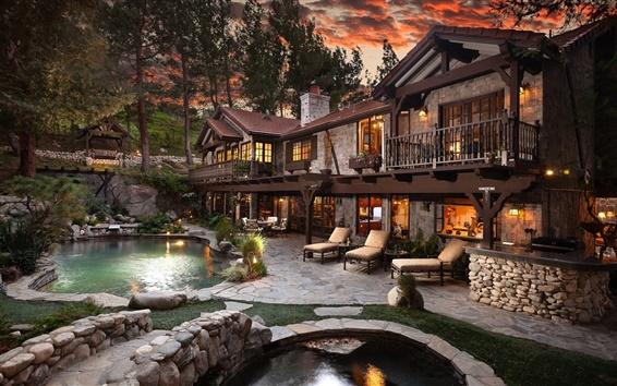 Fondos de pantalla Casa, piscina, noche, luces