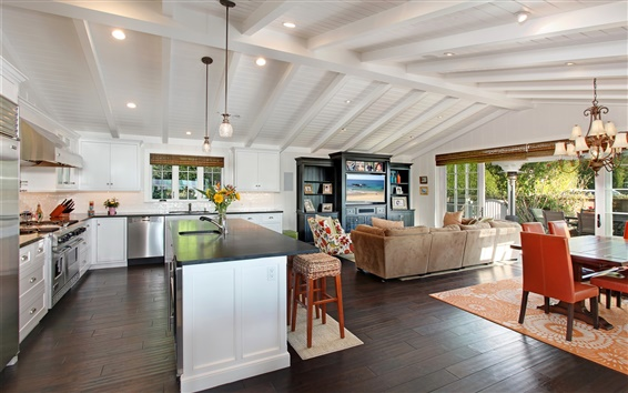 Fond d'écran Design d'intérieur, salon, cuisine, lustre