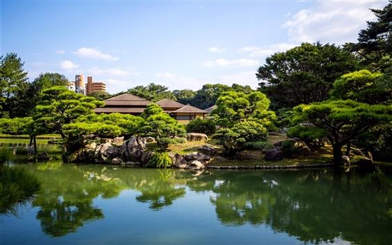 Wallpaper Japan Ritsurin garden, pond, trees, house