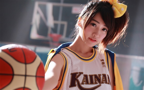 Wallpaper Japanese girl, basketball, sports uniform