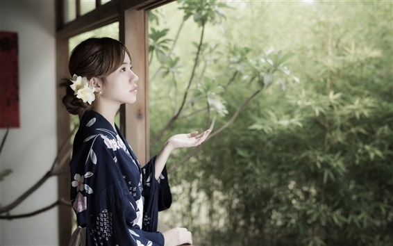 Fond d'écran Fille japonaise, regardez