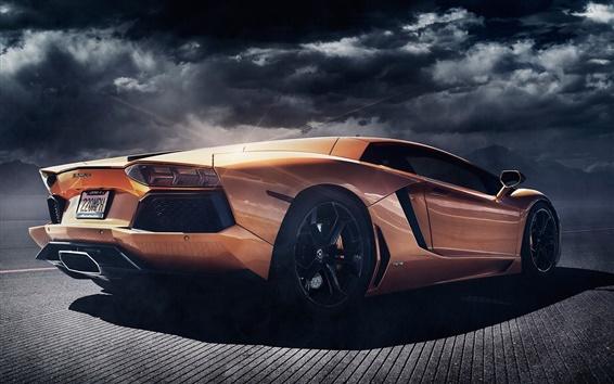 Обои Lamborghini Aventador LP700-4 оранжевый суперкар вид сзади, сумерки