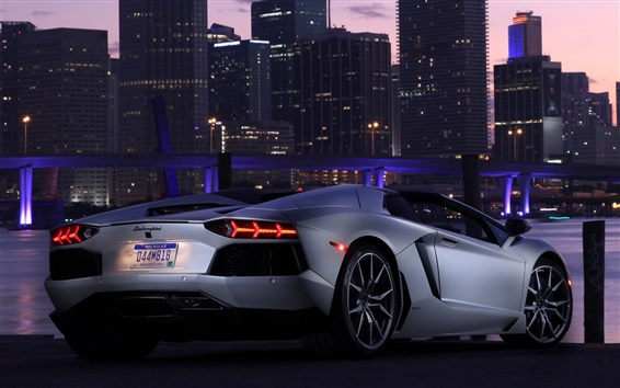 Wallpaper Lamborghini Aventador LP700-4 supercar, city, night
