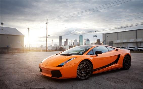 Wallpaper Lamborghini Gallardo orange supercar, city, sun, glare