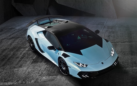 Wallpaper Lamborghini light blue supercar top view