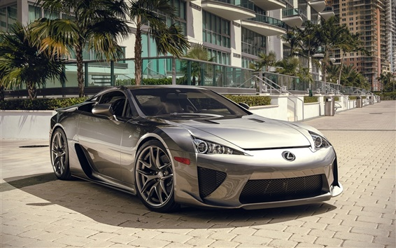 Wallpaper Lexus LFA silver supercar front view