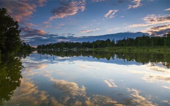 Fond d'écran Logan Martin Lake, Alabama, États-Unis, arbres, réflexion de l'eau