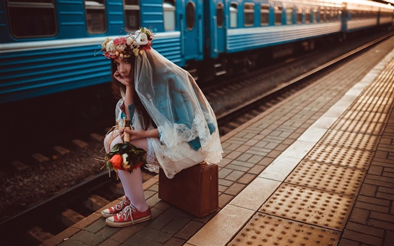 Wallpaper Lonely girl, bride, train, suitcase