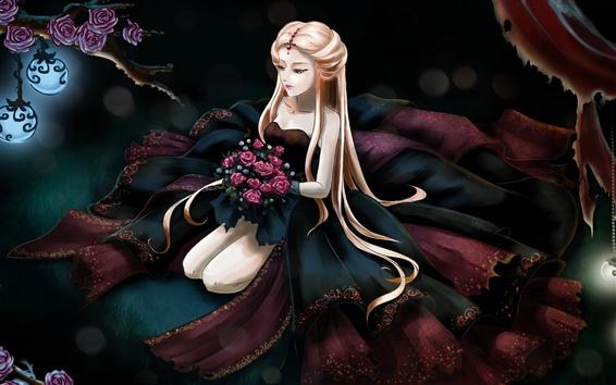 Wallpaper Long hair anime girl, rose flowers