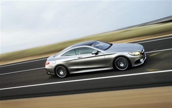 Fond d'écran Mercedes-Benz S-Class d'argent voiture, vitesse, route