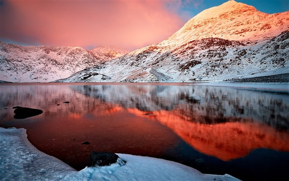 Wallpaper Mountain, snow, winter, lake, water reflection, clouds, sky