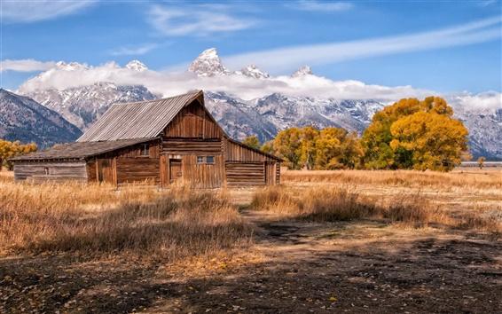 Fond d'écran Montagnes, ciel, maison en bois, de l'herbe, des arbres