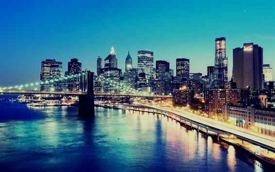 Papéis de Parede Noite, luzes da cidade, arranha-céus, Nova Iorque, EUA