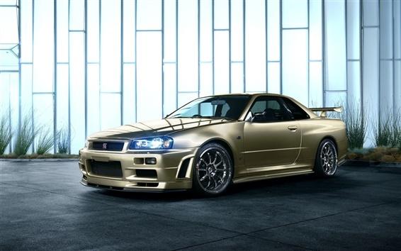 Wallpaper Nissan Skyline R34 golden car