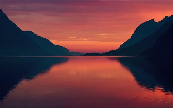 Papéis de Parede Noruega,, verão, manhã, alvorecer, céu vermelho fjord