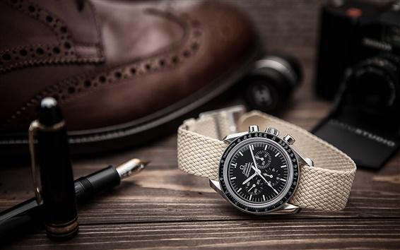 Обои Omega часы, ручка