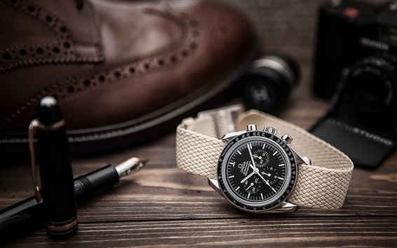 Wallpaper Omega watch, pen