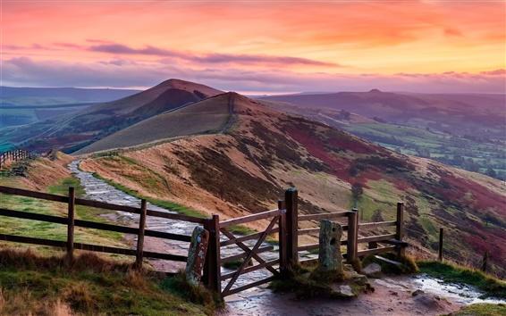 Wallpaper Peak District, England, hills, fence, dusk, red sky