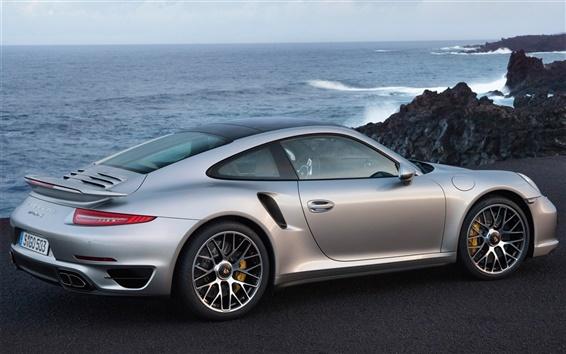 Fond d'écran Porsche 911 Turbo argent vue arrière de voiture