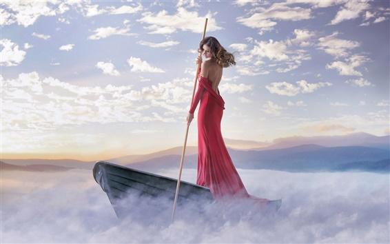 Wallpaper Red dress girl, boat, fog, clouds, coast