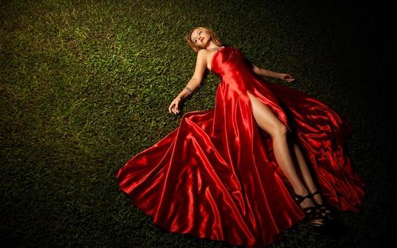 Wallpaper Red dress girl lying grass