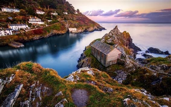 壁紙 岩、海、海岸、家