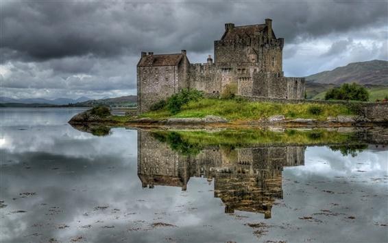Wallpaper Scotland, castle, lake, grass, sky, clouds