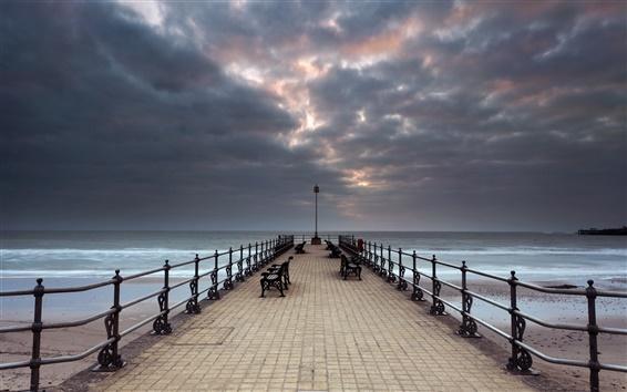 Wallpaper Sea, bridge, bench, clouds, dusk