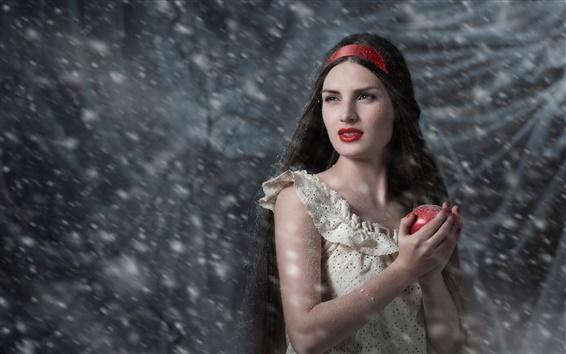 Wallpaper Snow White, apple, girl