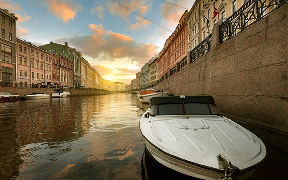 Fond d'écran Saint-Pétersbourg, rivière Moïka, la Russie, bateau, maisons