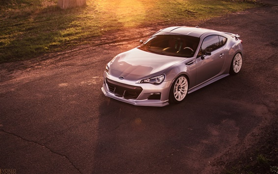 Wallpaper Subaru BRZ silver car