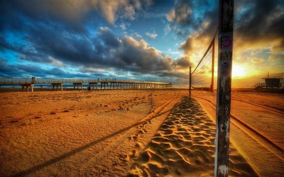 Обои Закат, пляж, мост, облака