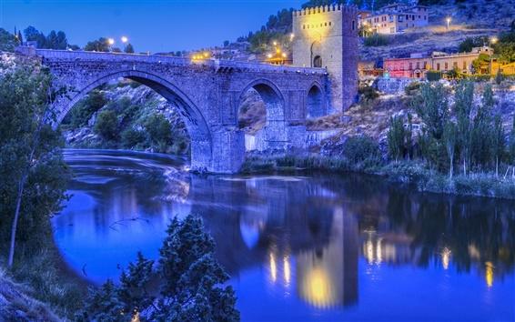 Wallpaper Toledo, Spain, river, bridge, evening, lights, hillside house