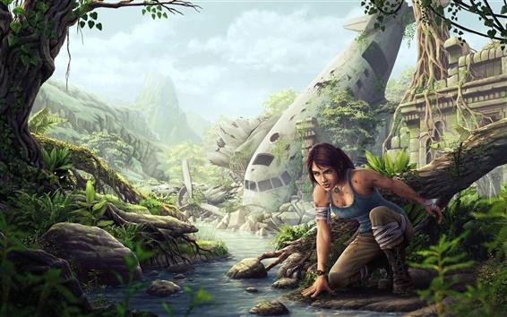 Fondos de pantalla Tomb Raider, Lara Croft, avión, ruinas