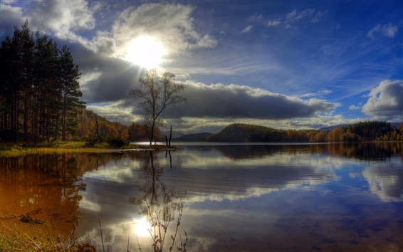 Fond d'écran Arbres, lac, ciel nuageux, la lumière du soleil