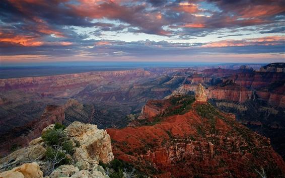Обои США, штат Аризона, Гранд-Каньон, скалы, скалы, небо, облака, сумерки