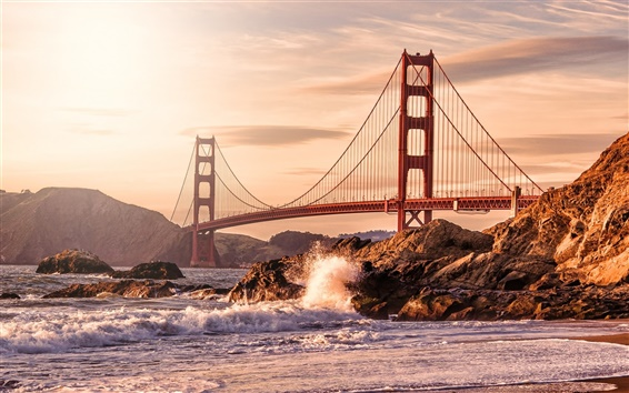 Wallpaper USA, San Francisco, Golden Gate bridge, rocks, waves, beach