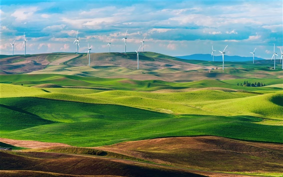 壁紙 アメリカ、ワシントン州、グリーンフィールド、風力タービン