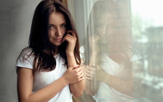 Fond d'écran Vêtements blancs fille, portrait, réflexion, fenêtre